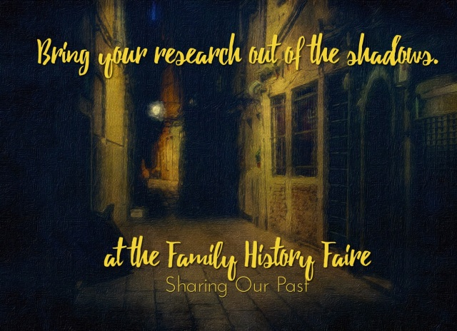 Family History Faire placard